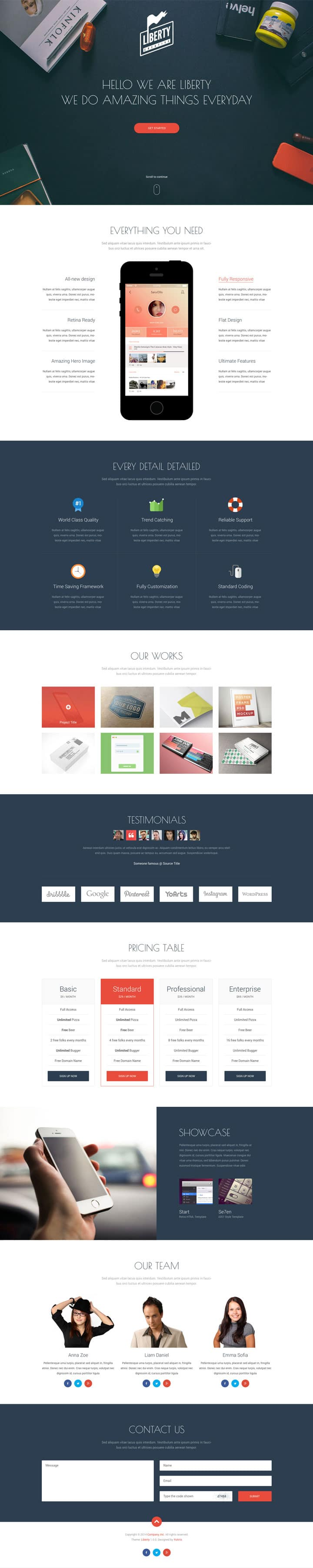 Liberty - Free One Page Template PSD