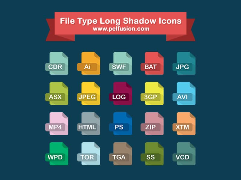 Long Shadow File Type Icons