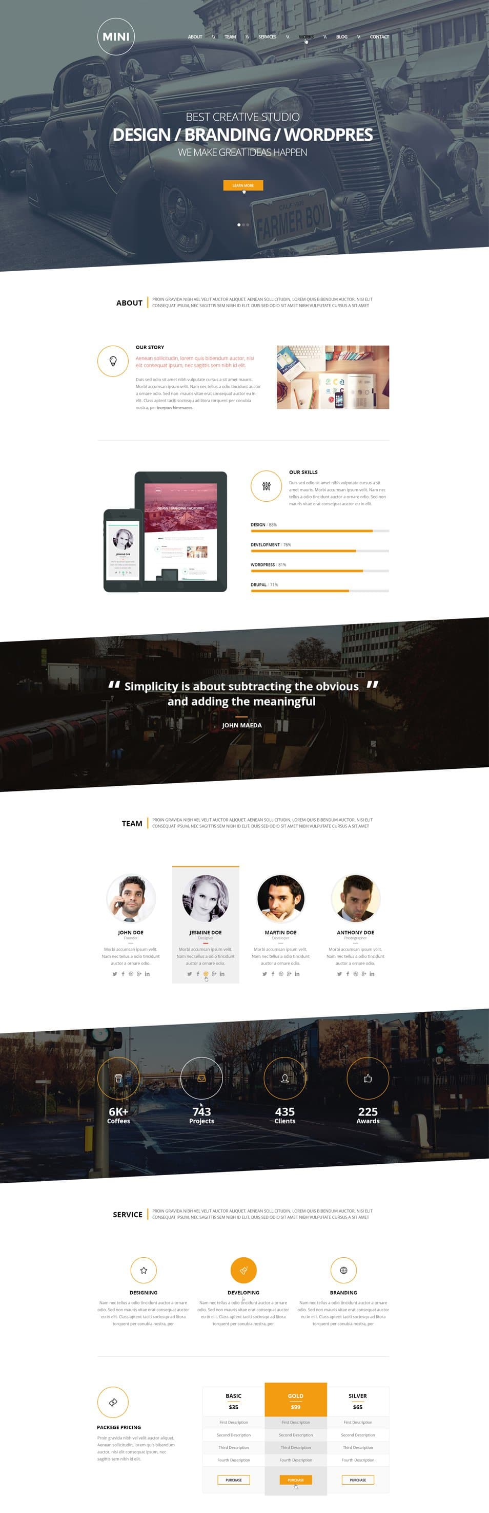 MINI – OnePage Creative Template Free PSD