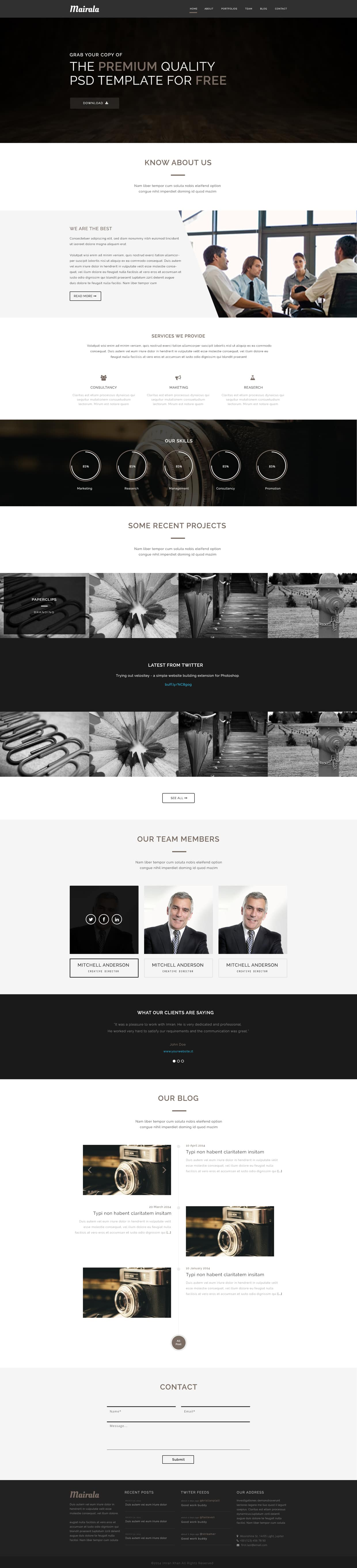Mairala - Free One Page Corporate Agency Template PSD
