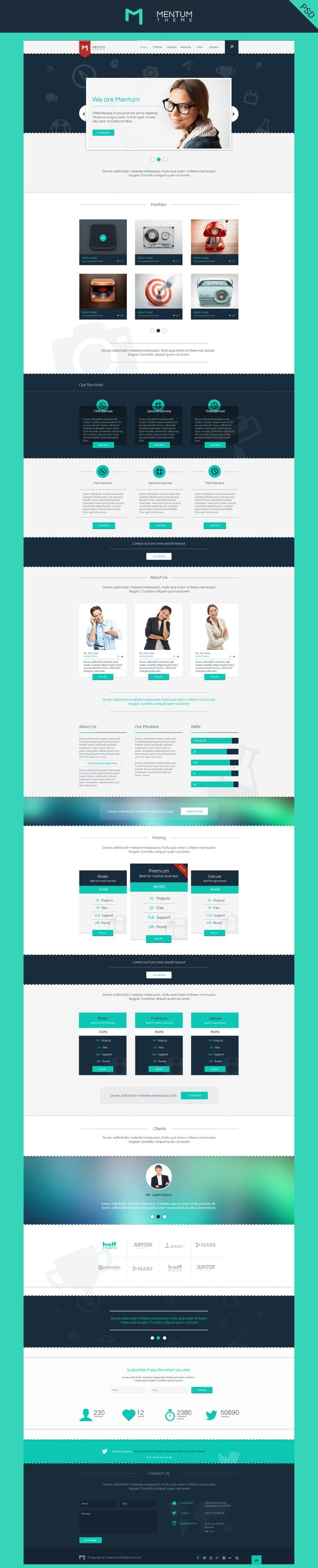Mentum Single Page Template PSD