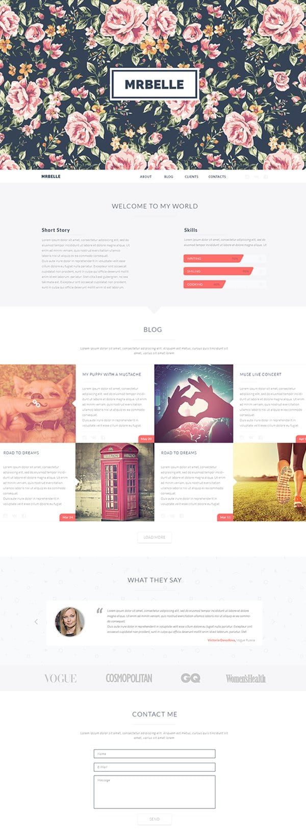 Mrbelle One Page Template PSD
