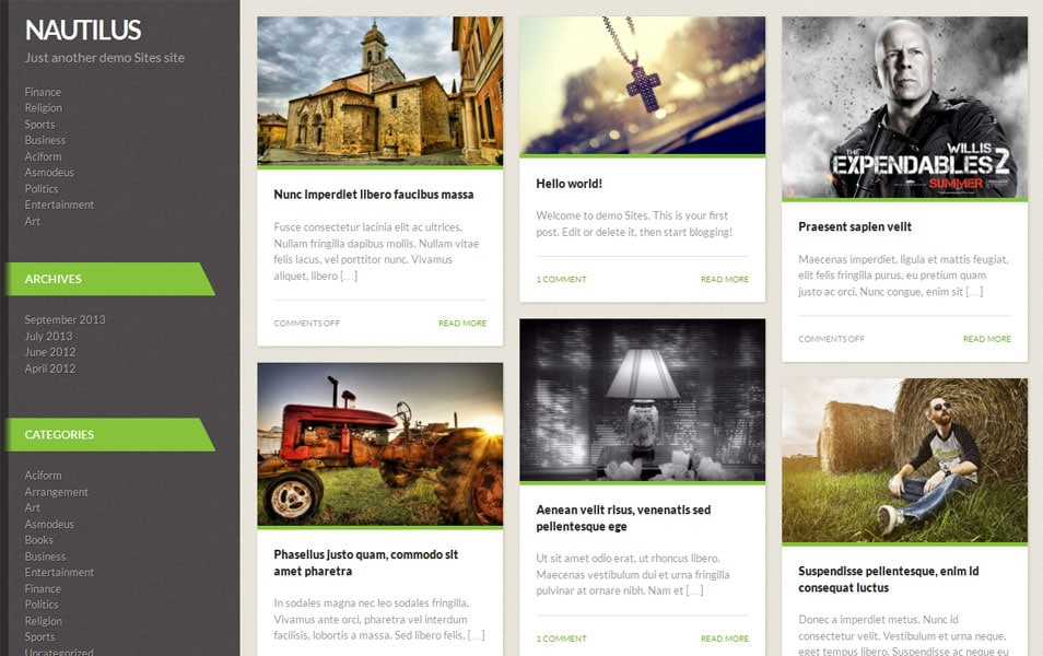 Nautilus Free Portfolio WordPress Theme