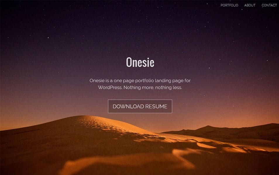 Onesie Free Portfolio WordPress Theme