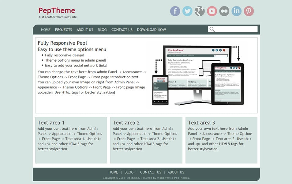 Pep Free Portfolio WordPress Theme