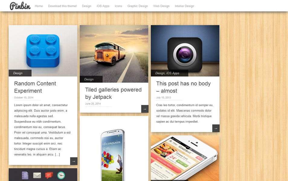 Pinbin Free Portfolio WordPress Theme