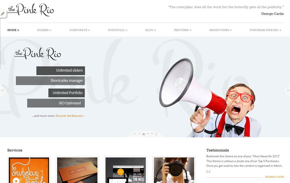 Pinkrio Free Portfolio WordPress Theme