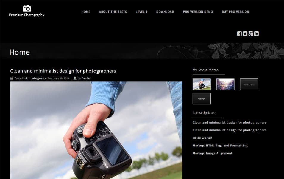 Premium Photography Free Portfolio WordPress Theme