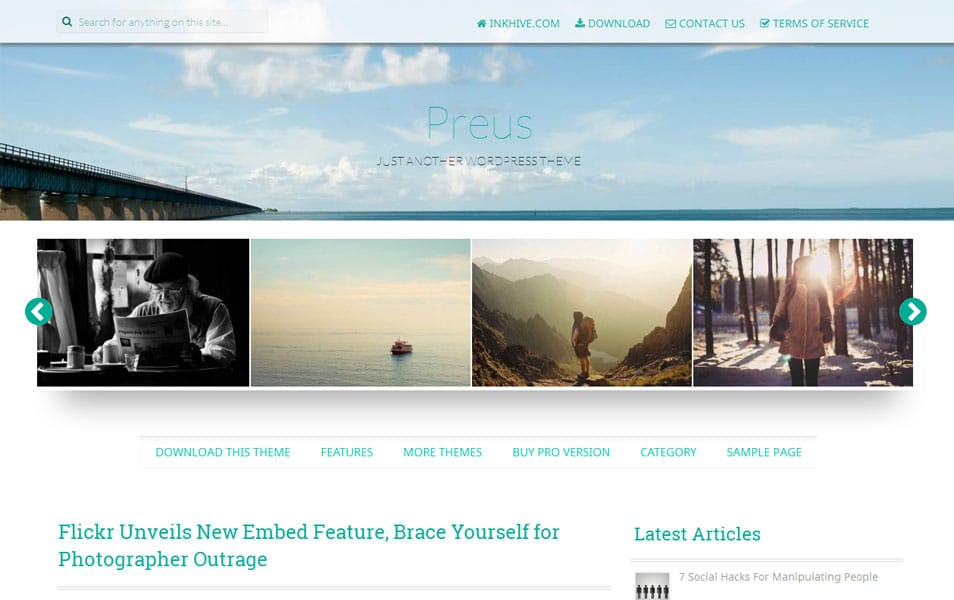 Preus Free Photography WordPress Theme
