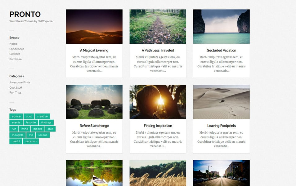 Pronto Free Photography WordPress Theme