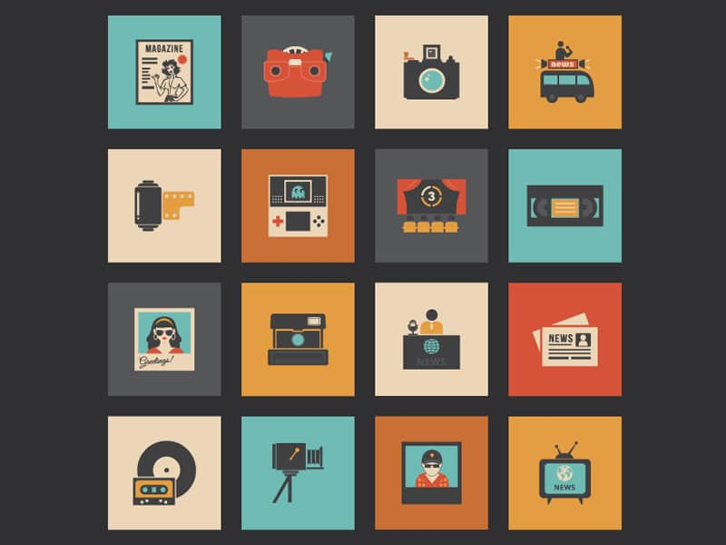Retro Multimedia Icons