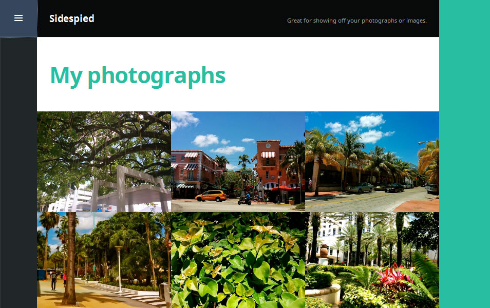 Sidespied Free Photography WordPress Theme