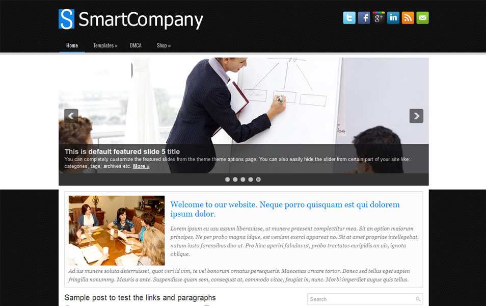 SmartCompany Free Portfolio WordPress Theme