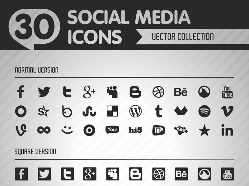 Social flat vector black icons