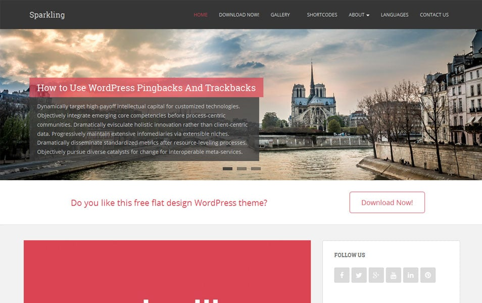 Sparkling Free Portfolio WordPress Theme