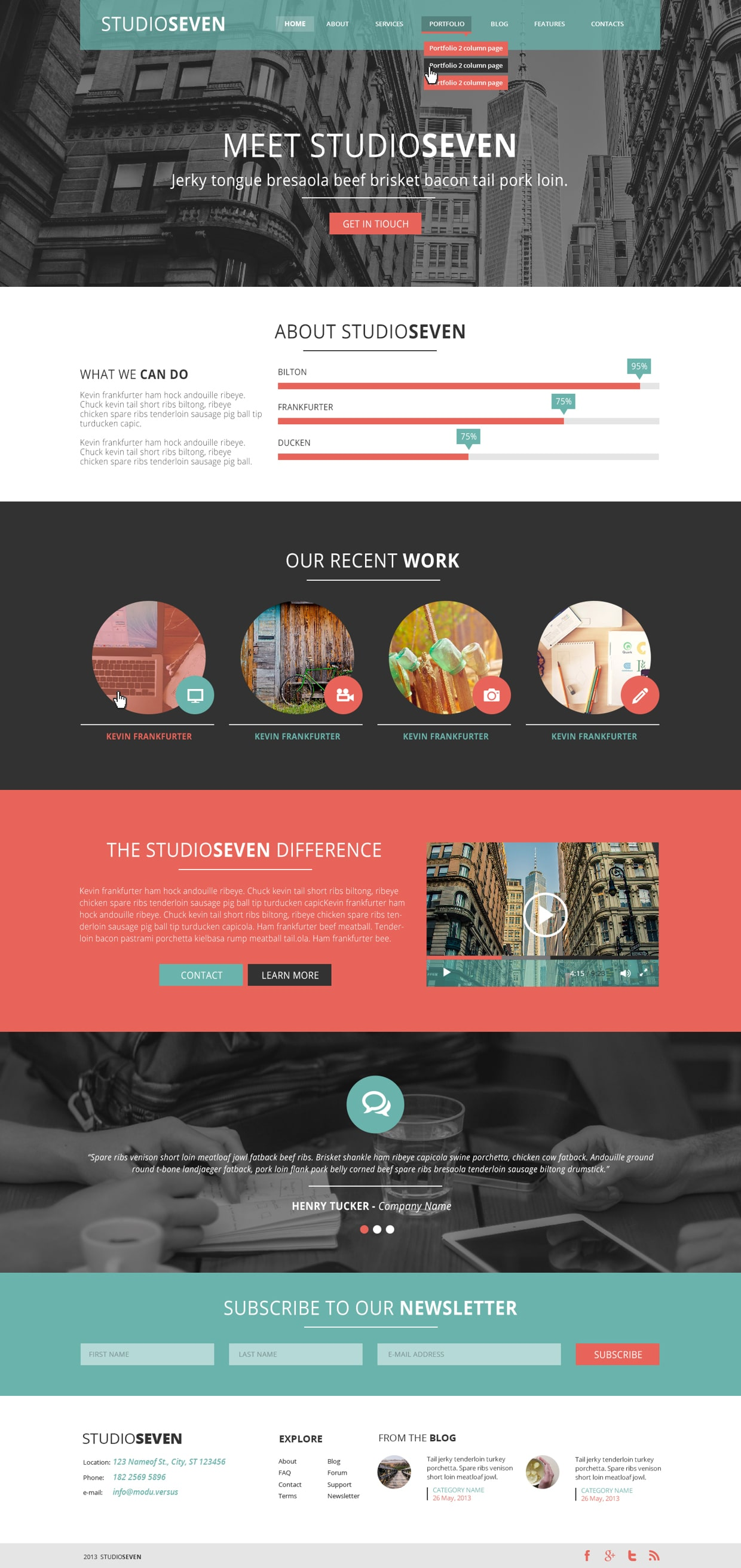 StudioSeven - One Page PSD Template
