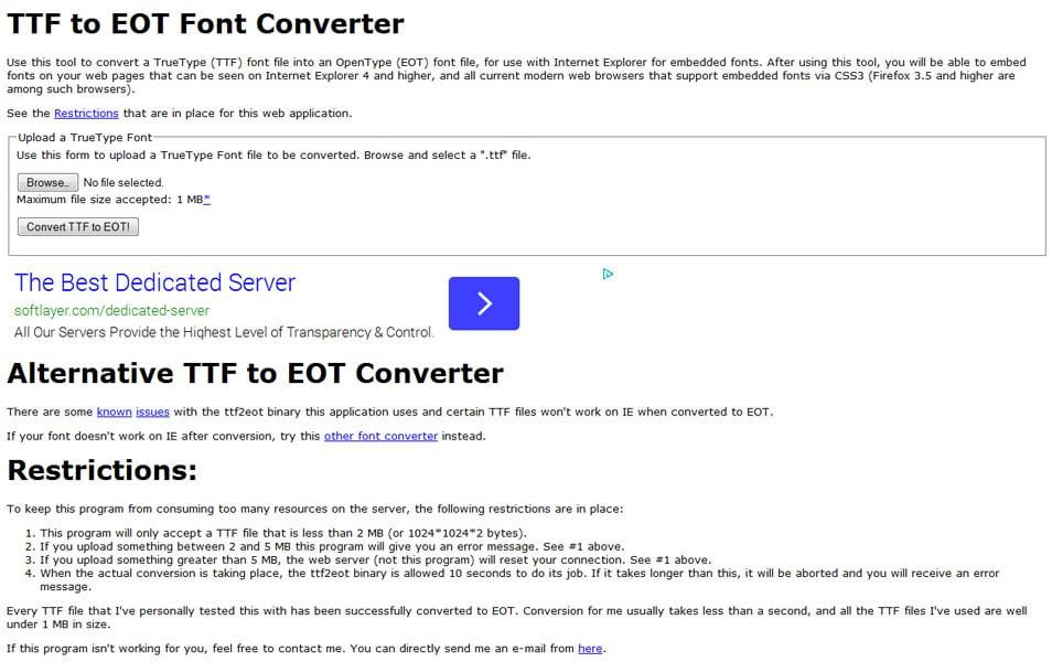 TTF to EOT Font Converter