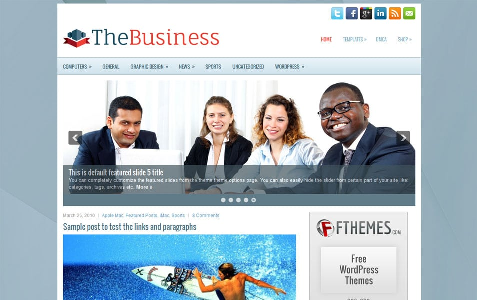 TheBusiness Free Portfolio WordPress Theme