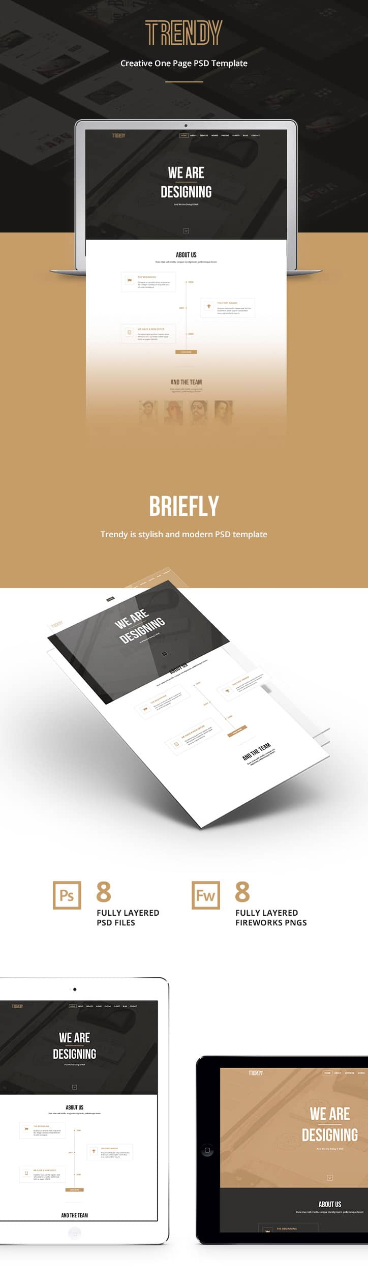 Trendy – Creative One Page Template PSD