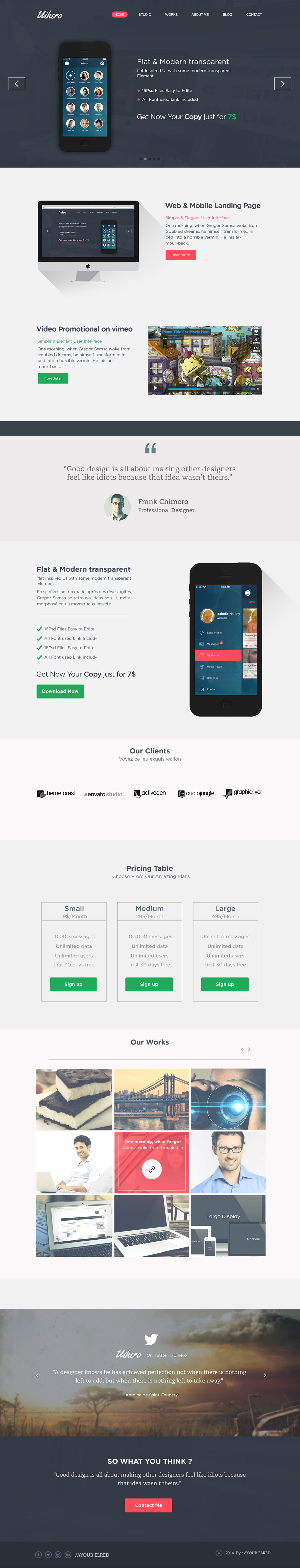 Uihero Free One Page Website Template