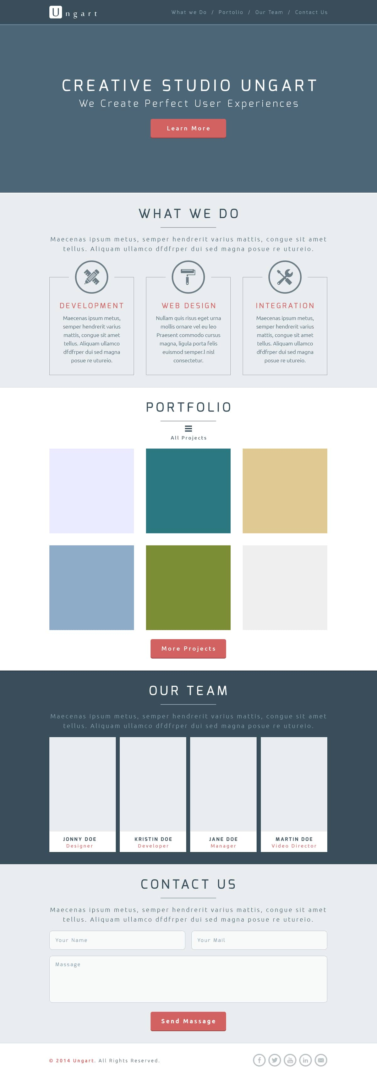 Ungart – One Page Free PSD Template