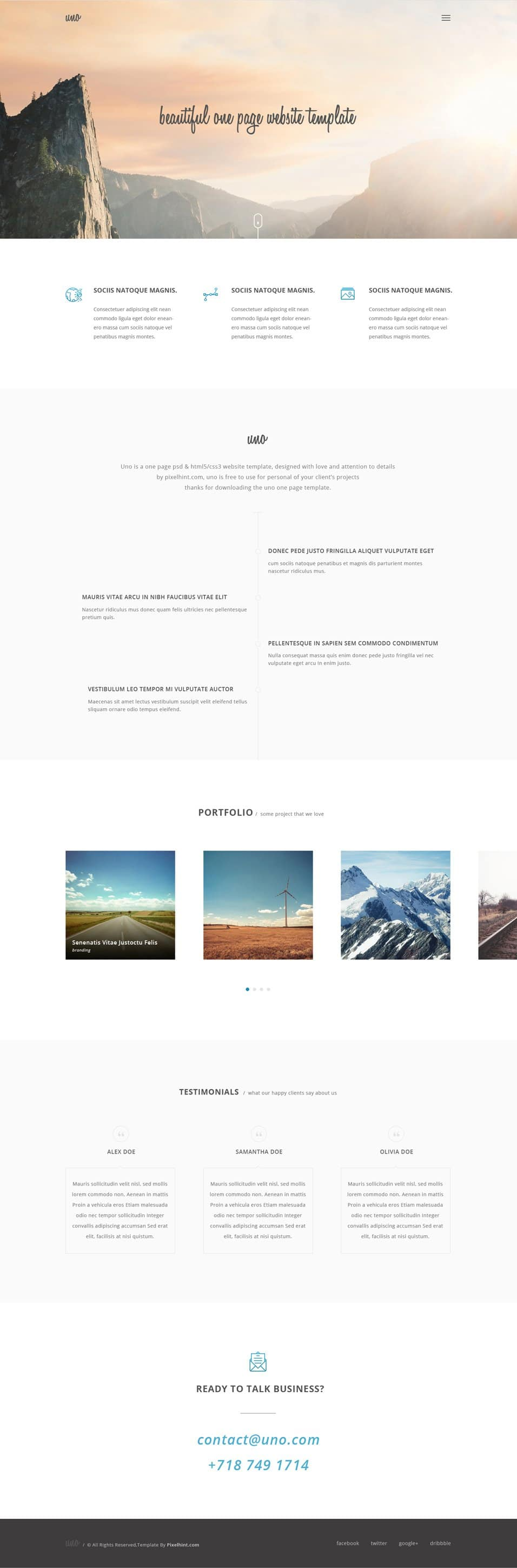 Uno – Free Elegant One Page/Single Page Website Template PSD