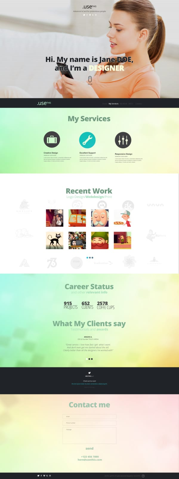 UseThis - A Single Page PSD Template