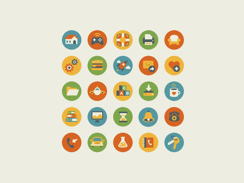 Vintage Flat Vector Icons