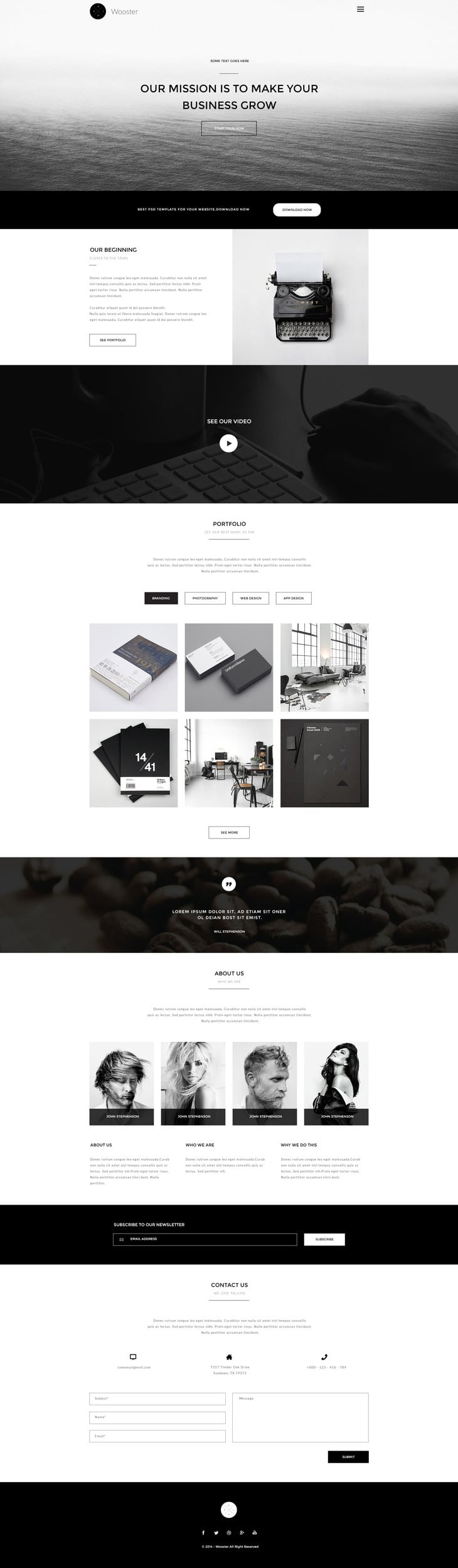 Wooster---Vintage Single Page Web Template PSD