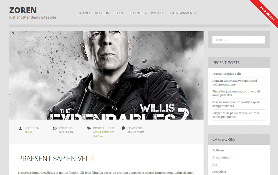Zoren Free Portfolio WordPress Theme