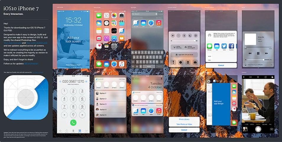 iOS 10 GUI (iPhone 7) PSD/Sketch