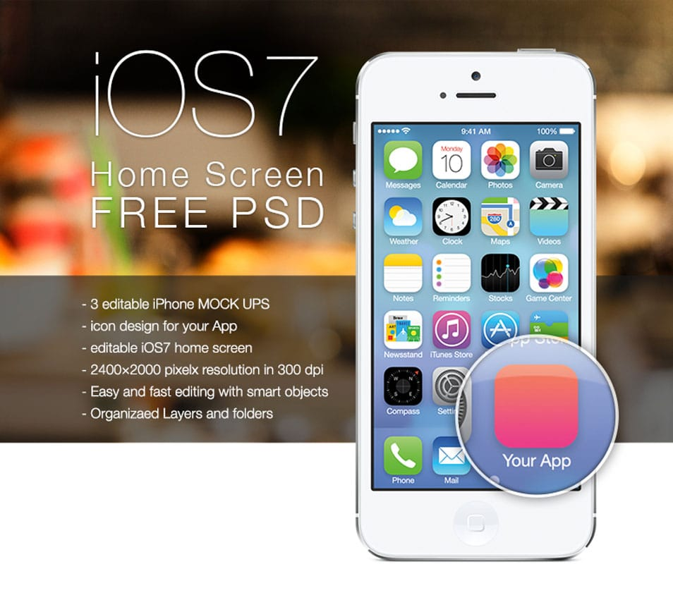 iOS 7 HOME SCREEN FREE PSD