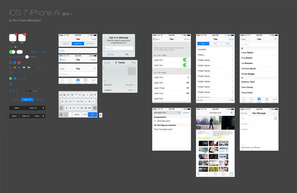 iOS 7 iPhone GUI Kit