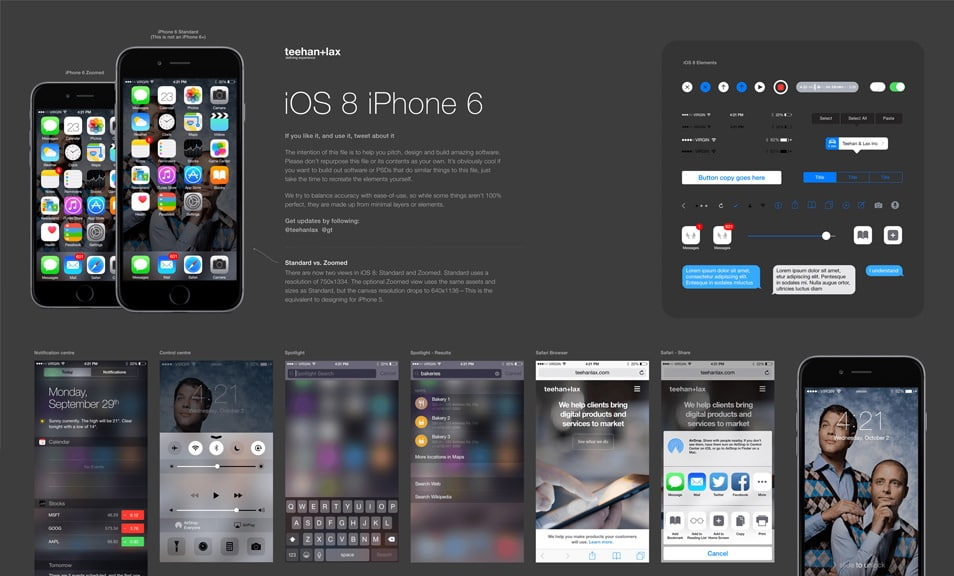 iOS 8 GUI for Sketch (iPhone 6)