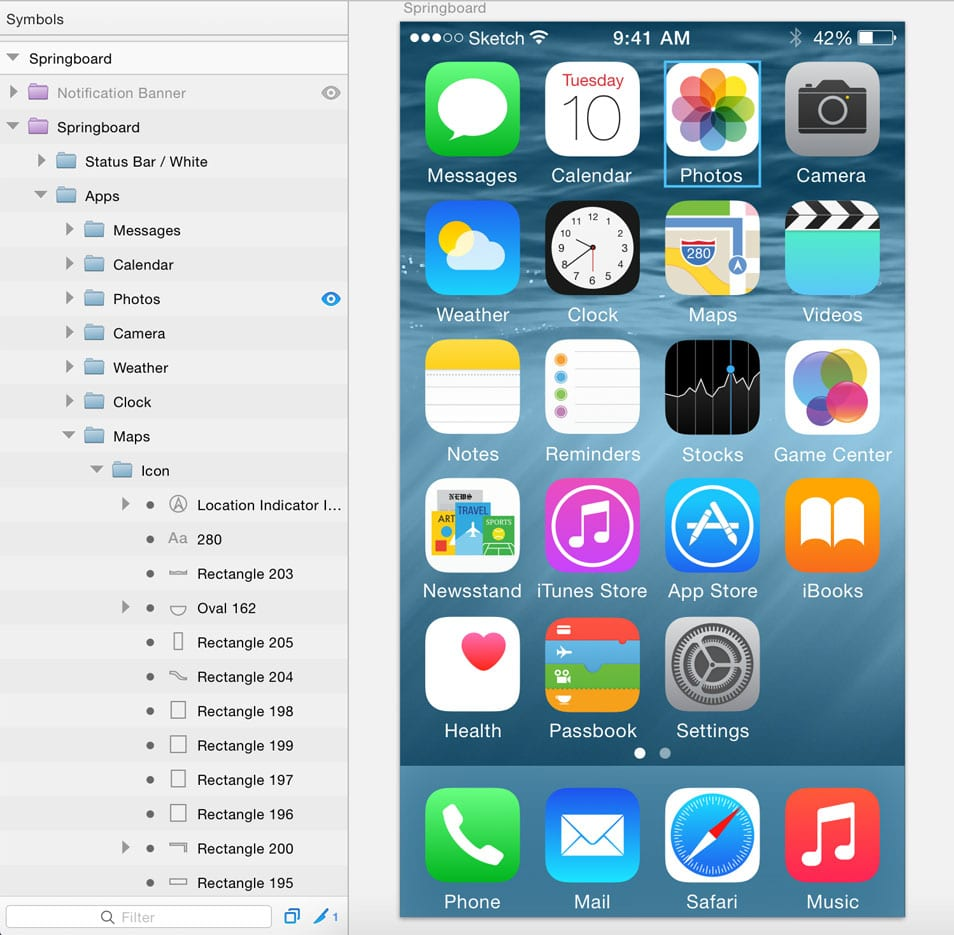 iOS 8 UI Kit for Sketch