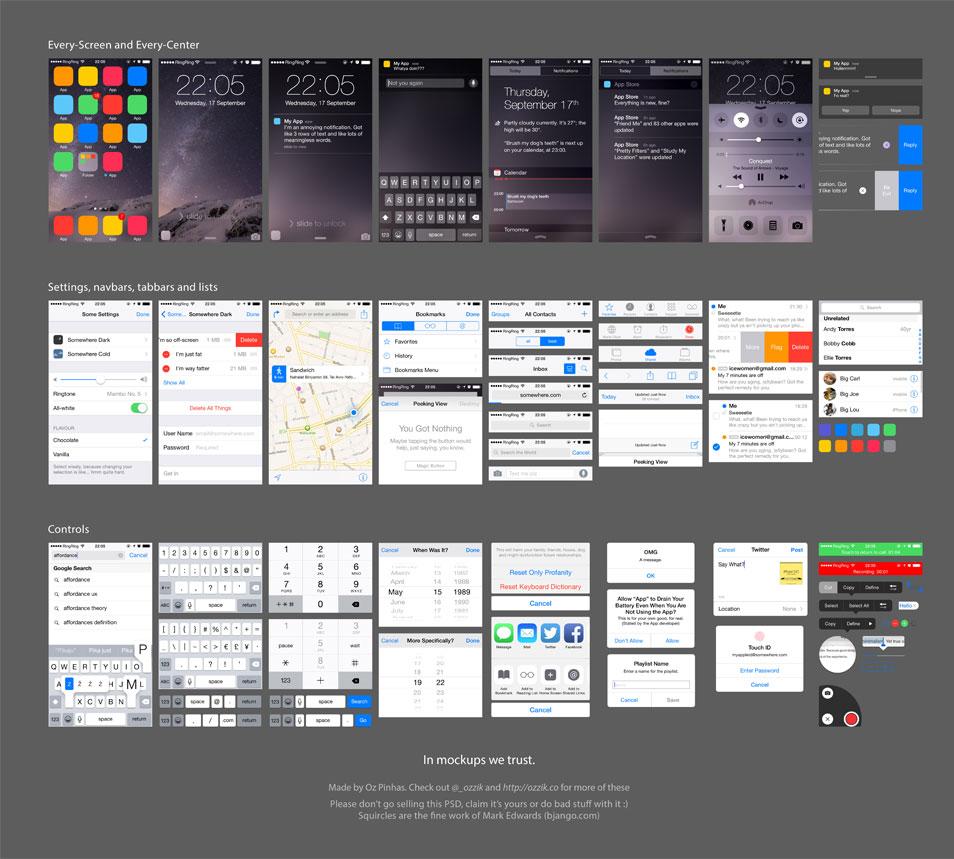 iOS 8 UI (free PSD)