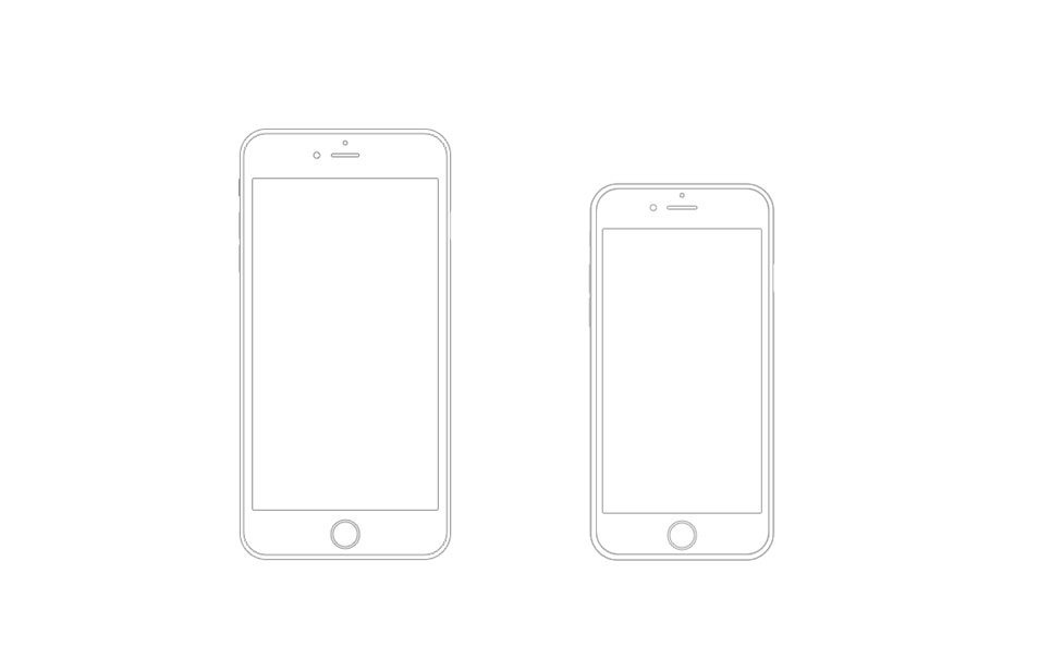 iPhone 6 Plus and iPhone 6 Wireframe