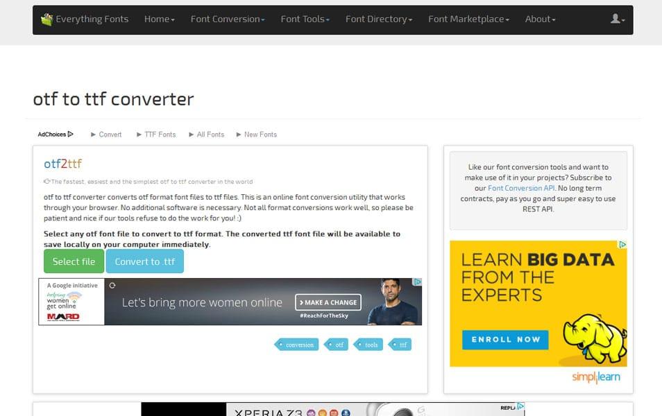 otf to ttf converter