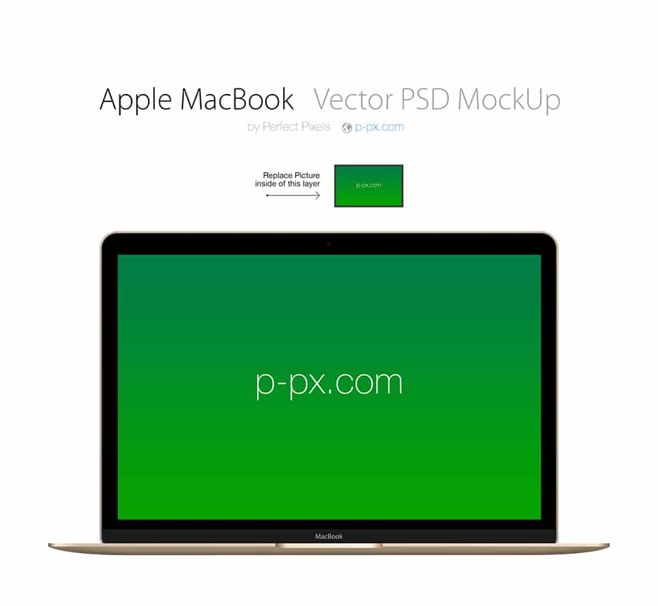 Apple Macbook Frontal Vector Mockup
