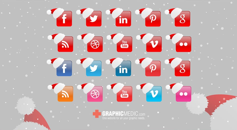 Christmas Vector Social Icons