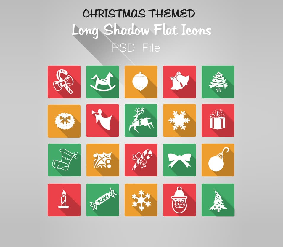 Flat Long Shadow Free Christmas Icons PSD