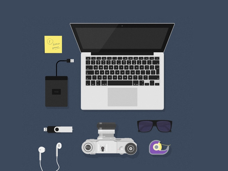 Flat MockUps – Desk Items