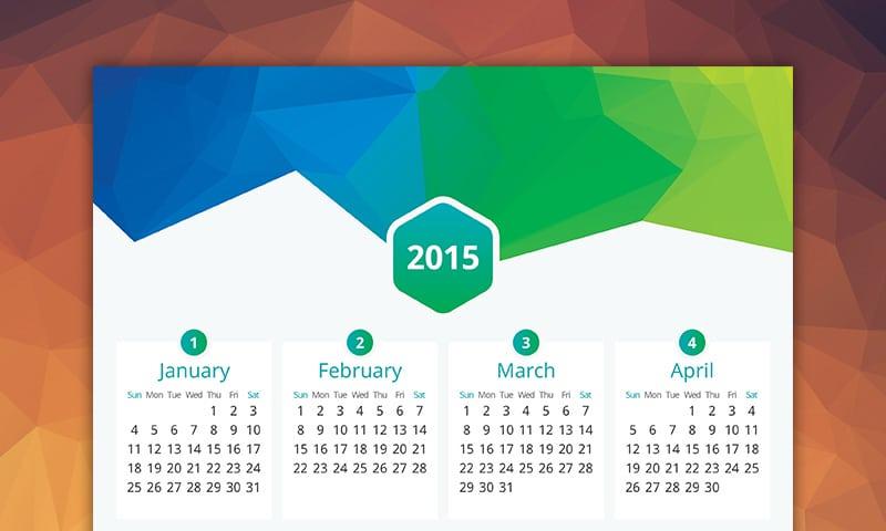 Flat Vector Calendar 2015