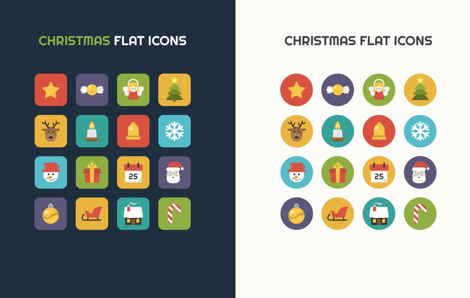 Flat-vector-Christmas-icons