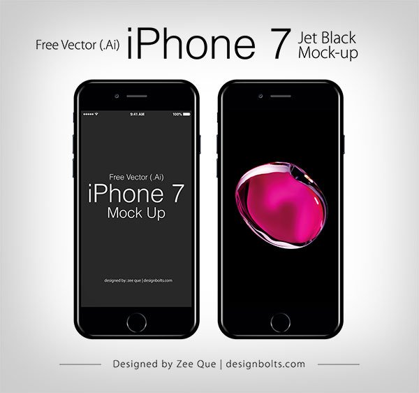 Free Apple iPhone 7 Jet Black Mockup