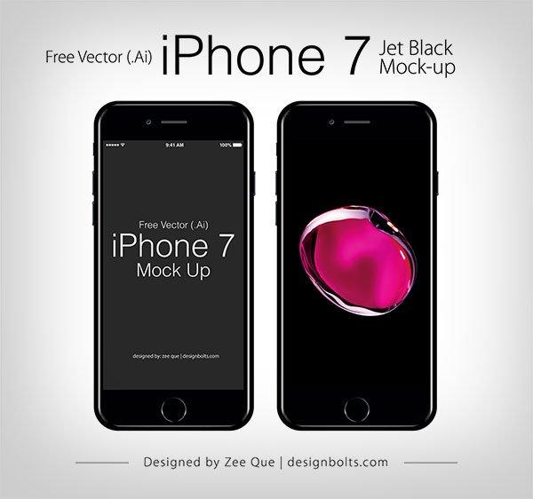 Free Apple iPhone 7 Jet Black Mockup