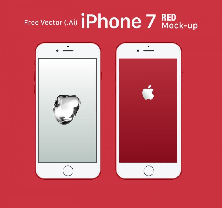Free Apple iPhone 7 RED Mock-up