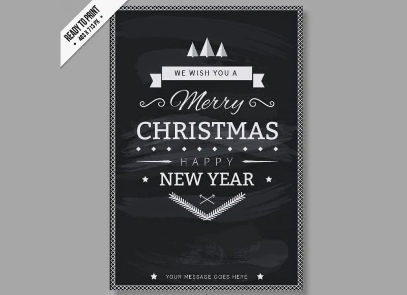 Free CMYK Black and white Christmas card