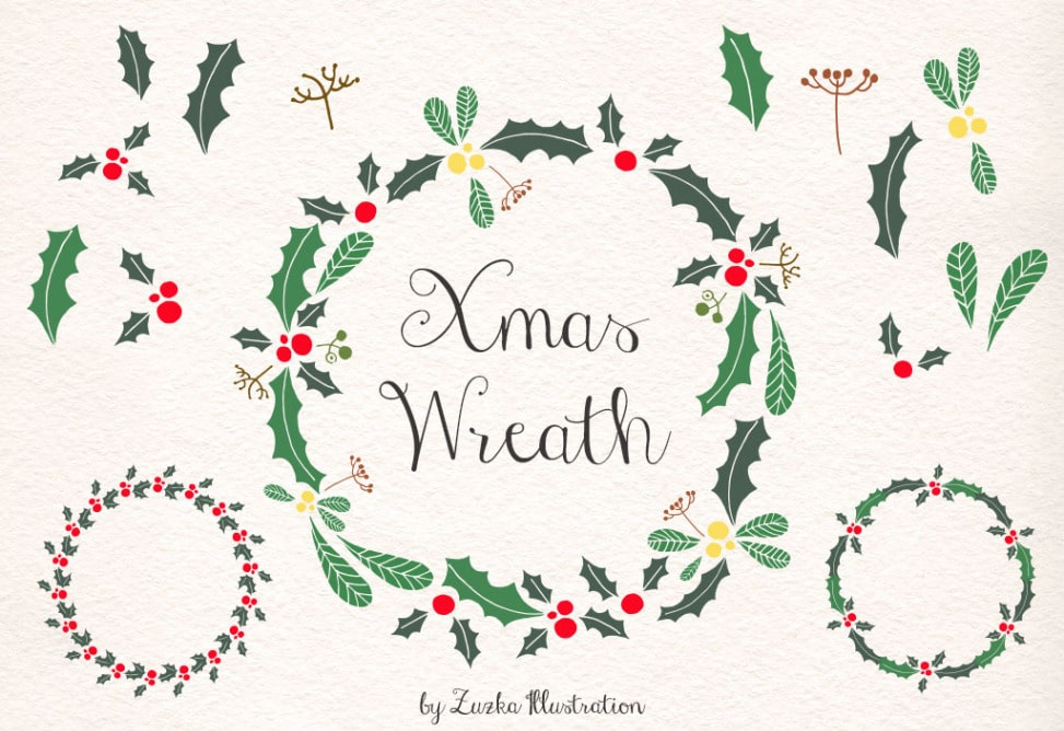 Free Christmas Wreath, Holly Vector and Xmas Digital Clip Art