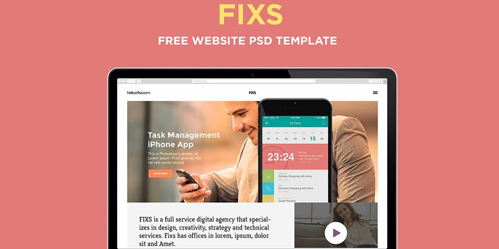 Free Elegant Single Page Website Template PSD